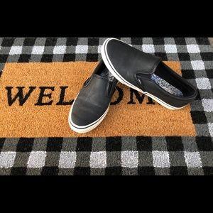 Vans Matte Black Leather Slip Ons- 7.5